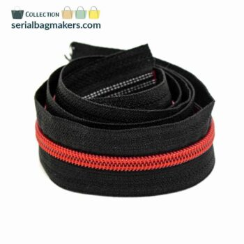 Zipper by the yard #5 - Black tape with candyred coil
