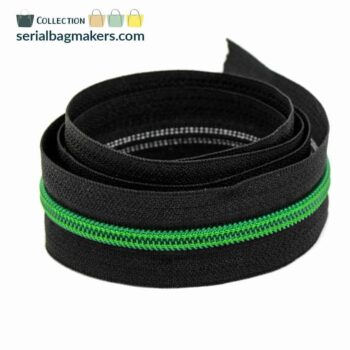 Zipper by the yard #5 - Black tape with Emerald green coil
