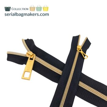 Zipper by the yard #5 - Black tape with gold coil