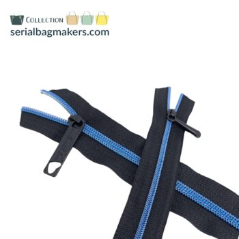 Zipper by the yard #5 - Black tape with Curious Blue coil