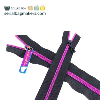 Zipper by the yard #5 - Black tape with fushia coil