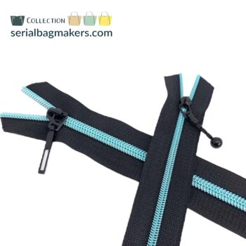 Zipper by the yard #5 - Black tape with light blue coil
