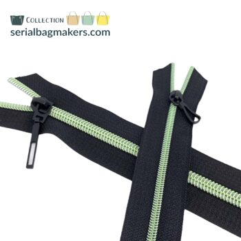 Zipper by the yard #5 - Black tape with light Green coil