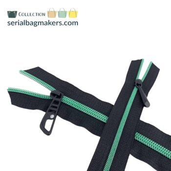 Zipper by the yard #5 - Black tape with Lagoon green coil