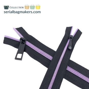 Zipper by the yard #5 - Black tape with mauve coil