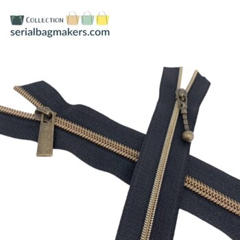 Zipper by the yard #5 - Black tape with brass coil
