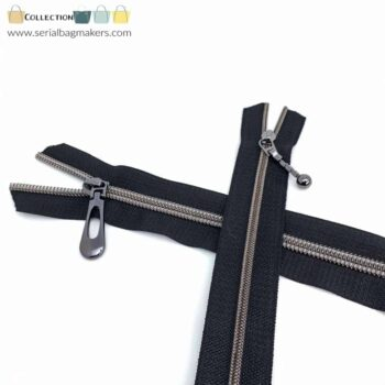 Zipper by the yard #5 - Black tape with gun metal coil