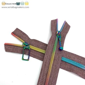 Zipper by the yard #5 - Chestnut tape with rainbow coil