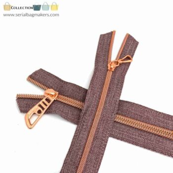 Zipper by the yard #5 - Chestnut tape with rose gold coil