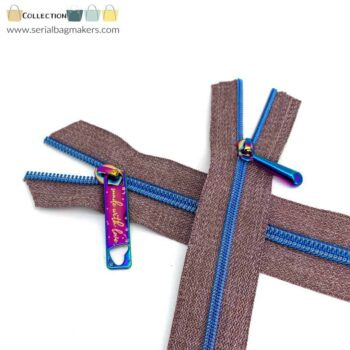 Zipper by the yard #5 - Chestnut tape with curious blue coil
