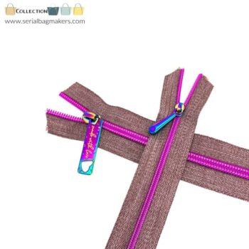 Zipper by the yard #5 - Chestnut tape with fushia coil