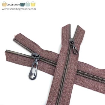 Zipper by the yard #5 - Chestnut tape with gun metal coil