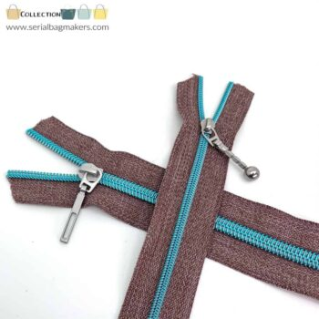 Zipper by the yard #5 - Chestnut tape with light blue coil