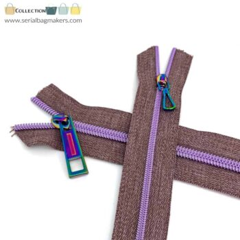 Zipper by the yard #5 - Chestnut tape with mauve coil