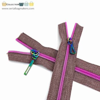Zipper by the yard #5 - Chestnut tape with pink coil