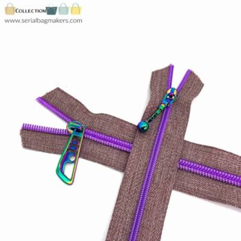 Zipper by the yard #5 - Chestnut tape with purple coil
