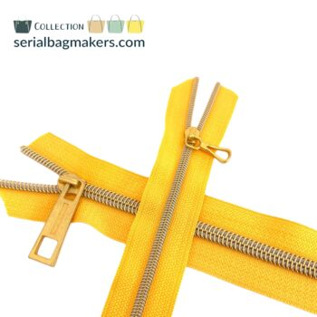 Zipper by the yard #5 - Golden Yellow tape with gold coil