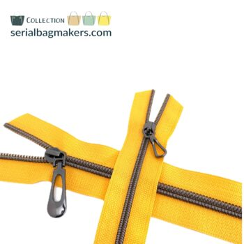 Zipper by the yard #5 - Golden Yellow tape with gun metal coil