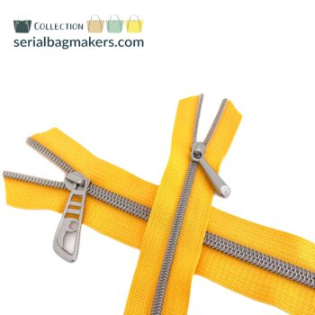Zipper by the yard #5 - Golden Yellow tape with nickel coil