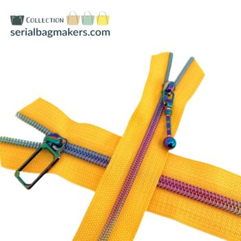 Zipper by the yard #5 - Golden Yellow tape with iridescent rainbow coil