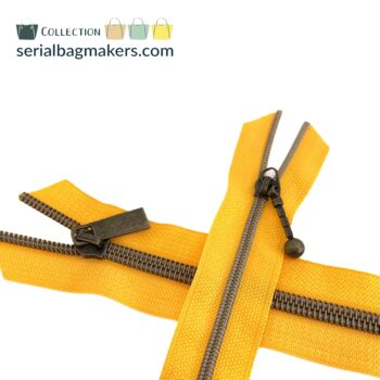 Zipper by the yard #5 - Golden Yellow tape with brass coil