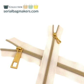 Zipper by the yard #5 - Offwhite tape with gold coil