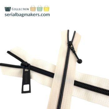 Zipper by the yard #5 - Offwhite tape with black coil