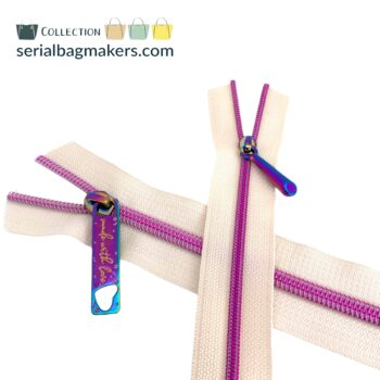 Zipper by the yard #5 - Offwhite tape with fushia coil