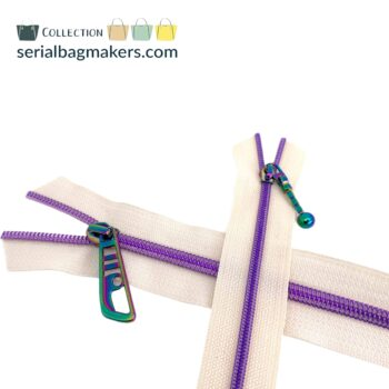 Zipper by the yard #5 - Offwhite tape with purple coil