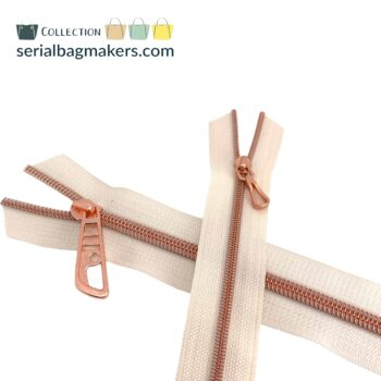 Zipper by the yard #5 - Offwhite tape with rose gold coil