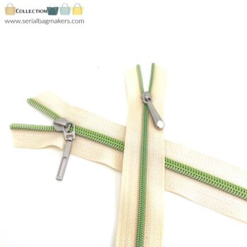 Zipper by the yard #5 - Offwhite tape with light green coil